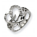 Stainless Steel Diamond CZ Heart Fashion Ring Size 7