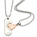 Stainless Steel Diamond CZ Polished & Rose IP-plated Pendant Set Necklace