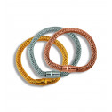 Three Piece Stainless Steel Plain Magnetic Mesh Bracelet Set