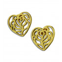 Gold Plated Stainless Steel Diamond Cut Textured Heart Earrings