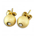Gold Plated Stainless Steel CZ Diamond Button Stud Earrings