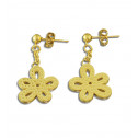 Gold Plated Stainless Steel Flower Stud Dangling Earrings