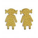 Gold Plated Stainless Steel Diamond Cut Girl Stud Earrings