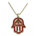 Gold Plated Red CZ Diamond and Beads Hamsa Pendant Necklace