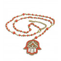 Orange Beads White CZ Diamond Hamsa Charm Jewish Rosary Necklace