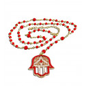 Red Beads White CZ Diamond Hamsa Charm Jewish Rosary Necklace