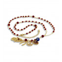 Red Beads CZ Diamond Lucky Charms Jewish Rosary Necklace