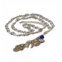 White Beads CZ Diamond Lucky Charms Jewish Rosary Necklace