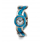 Ladies Silver Tone Turquoise Color Fashion Bangle Watch