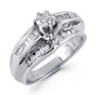 14k White Gold Solid 0.70 Round Baguette Diamond Ring