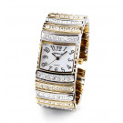 New Ladies Two-Tone CZ Mother of Pearl Bangle Watch