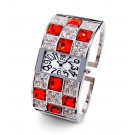 New Ladies Silver Tone White Red Square CZ Bangle Watch