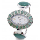 New Ladies Green Jade Silver Tone Oval Bangle Watch