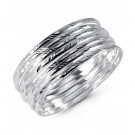 Etched 925 Sterling Silver Diamond Cut Bangle Bracelets