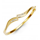 Women's 14k Yellow Gold Round Diamond Bypass Bracelet