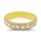 Yellow Rainbow Swarovski Crystal Solid Acrylic Bangle