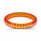 Orange Rainbow Swarovski Crystal Solid Bangle Bracelet