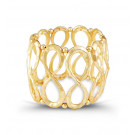 Gold Tone Extra Wide Swirl Beads Link Bangle Bracelet