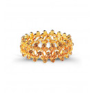 Gold Tone Round Smoky Topaz CZ Bangle Stretch Bracelet