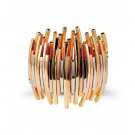 Multi-Color Metal Tone Extra Wide Link Stretch Bracelet