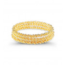 Gold Tone Metal Chain Link Triple Solid Bangle Bracelet
