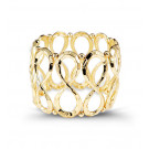 Gold Tone Extra Wide Solid Scroll Beads Stretch Bangle