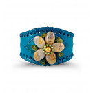 Teal Leather PU Band Camel Green Stone Flower Cuff
