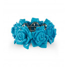 Solid Light Blue Floral Stretch Acrylic Bangle Bracelet