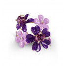 Gold Tone White CZ Purple Stone Floral Bangle Bracelet
