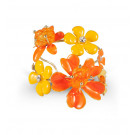 Gold Tone White CZ Orange Stone Floral Bangle Bracelet