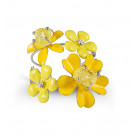 Silver Tone Round White CZ Yellow Stone Floral Bangle