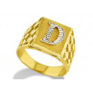 New 14k Two Tone Gold Diamond Cut Letter D Initial Ring