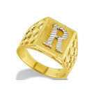 New 14k Two Tone Gold Diamond Cut Letter R Initial Ring