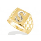 New 14k Two Tone Gold Diamond Cut Letter S Initial Ring