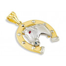 14k Yellow White Gold Horse Horseshoe CZ Lucky Pendant
