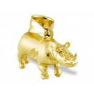 Mens Polished 14k Yellow Gold Rhinoceros 3d Pendant
