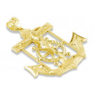 14k Yellow Gold Captains Wheel Crucifix Anchor Pendant