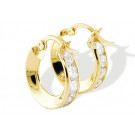 14k Yellow Gold Small Channel Set CZ Hoop Earrings