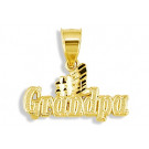 Mens 14k Yellow Gold #1 Grandpa Diamond Cut Pendant