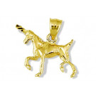 Solid 14k Yellow Gold Lucky Charm Unicorn Horse Pendant