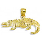 Mens Solid 14k Yellow Gold Alligator Crocodile Pendant