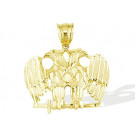 Mens 14k Yellow Gold Diamond Cut Eagles Birds Pendant