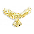Mens 14k Yellow Gold Flying Bald Eagle Slider Pendant
