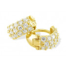 14k Yellow Gold Pave CZ Band Small Huggie Hoop Earrings