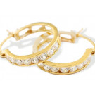 14k Solid Yellow Gold Round CZ Heart Band Hoop Earrings