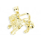 Solid 14k Yellow Gold Diamond Cut Lion Leo Pendant