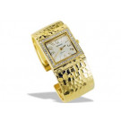 Stainless Steel Silvery Or Gold Tone CZ Hammered Watch