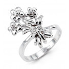 New 14k Solid White Gold Flower Bouquet CZ Fashion Ring