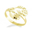 Solid 14k Yellow Gold Diamond Cut Flower Polished Ring