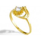 New Women's Solid 14k Yellow Gold CZ Flower Ring